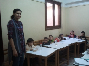Bosma and her kindergarten class